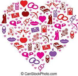 love icons in heart