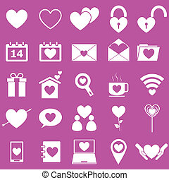 Love icons on pink background