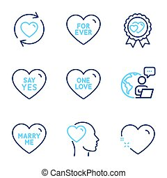 Love icons set. Included icon as Say yes, For ever, Love award signs. Vector