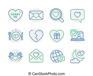 Love icons set. Included icon as Valentine, Love message, Romantic dinner signs. Vector