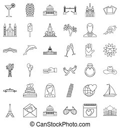 Love icons set, outline style - Love icons set. Outline...