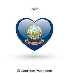 Love Idaho state symbol. Heart flag icon.