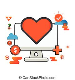 love illustration. computer illustration. Flat vector icon. can use for, icon design element,ui, web, mobile app.