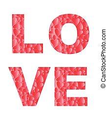 love., impresión, con, corazones