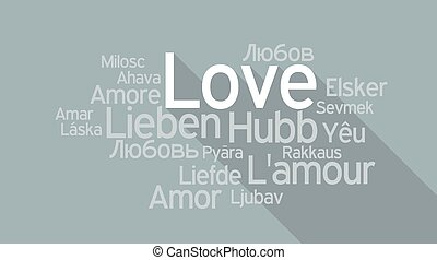 LOVE in different languages, word tag cloud