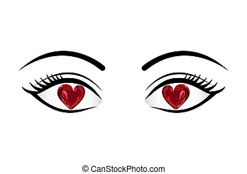 Love in Eyes - illustration of heart in eyes on isolated...