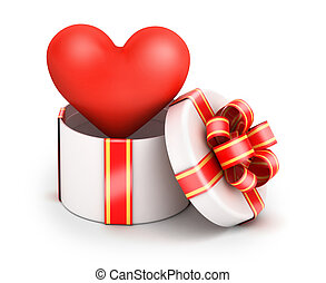 Love in gift box - Love from gift box with yellow ribbon on ...