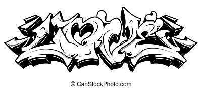 Love in graffiti style. Black line isolated on white background.
