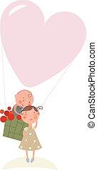 Love in hot-air balloon