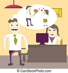 Love in office. Man manager wants to give flowers to a woman in the office on Valentine's Day. Flat vector illustration