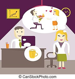 Love in office. Woman manager wants to marry a man called her, and the man dreams of a mug of beer in an office on Valentine's Day. Flat vector illustration