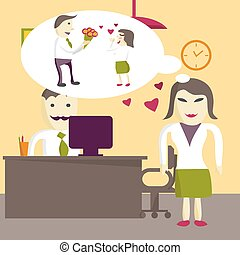 Love in office. Woman manager wants to receive a gift of a bouquet of flowers from a man in an office on Valentine's Day. Flat vector illustration