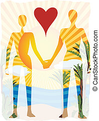 Love in paradise abstract couple si - Outline of couple...