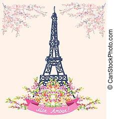Love in Paris nice card - vintage floral design