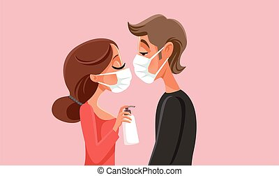 Love in Quarantine Pademic Times Vector Illustration - ...