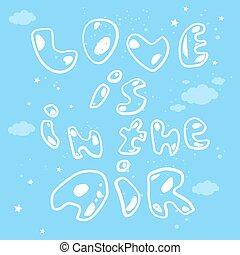 Love in the air cartoon vector illustration.