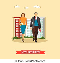 Love in the city concept vector illustration in flat style. Couple walk with buildings on background
