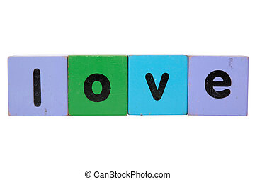 love in toy play block letters with clipping path
