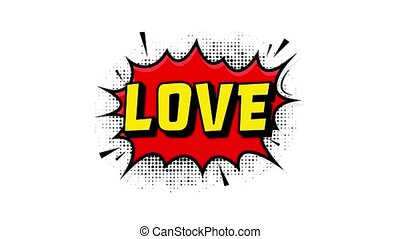 Love in vintage style. Cartoon style . Pop art. Motion graphics. Wow effect.