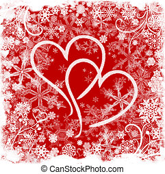 love in winter - Red white illustrated valentine background...