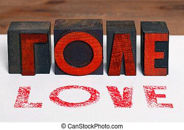 Love in wooden letterpress