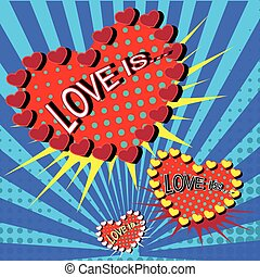 Love is cartoon explosion ower blue background. Falling in...