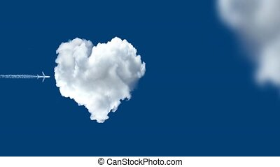 Airplane arrow and heart cloud - love concept