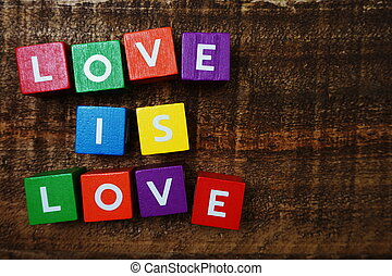 Love is Love word colorful alphabet letter with space copy on wooden background