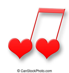 Love Is Music - Two red hearts in harmony musical symbol...