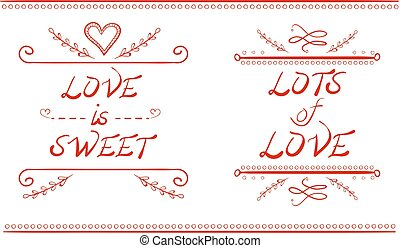 LOVE IS SWEET and LOTS of LOVE words, hand drawn VECTOR illustration, red lines
