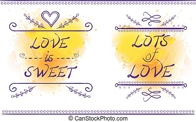 LOVE IS SWEET and LOTS of LOVE words, VECTOR illustration, purple lines on yellow splash