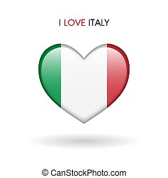 Love Italy symbol. Flag Heart Glossy icon on a white background