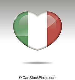 Love ITALY symbol. Heart flag icon.