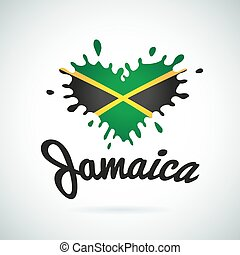 Love Jamaica lettering Heart illustration, carribean music...
