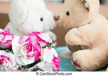 Love kiss, Couple bear in love.