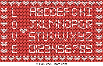 Love knitted alphabet with hearts border
