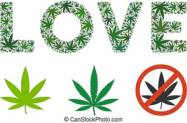 Love Label Collage of Cannabis - Love caption mosaic of weed...