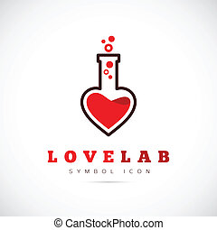 Love Laboratory Abstract Vector Concept Symbol Icon or Logo Template