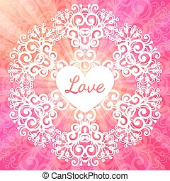 Love lacy ornate pink vector card