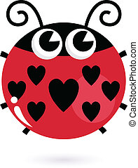 Love ladybug with hearts isolated on white - Cute heart...