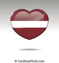 Love LATVIA symbol. Heart flag icon.