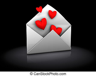 love letter - 3d illustration of envelope with hearts, over...