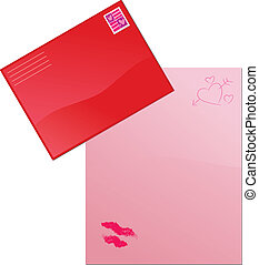 Love Letter - A pink love letter and envelope illustration.