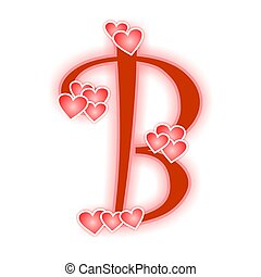Love Letter Alphabet B Decorated With Hearts