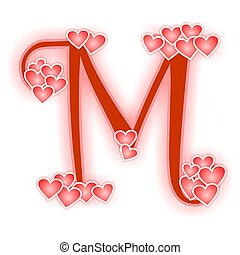 Love Letter Alphabet M Decorated With Hearts