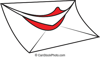 Love Letter - White funny cartoon envelope letter with...