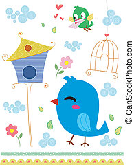 Love Letter - Border Illustration Featuring a Bird...