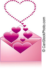 Love letter pink icon, vector illustration