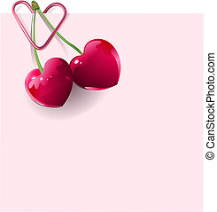 Love Letter with pair of heart-shape cherries
