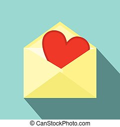 Love letter flat icon. Single modern symbol of letter with...